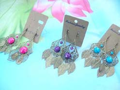 costume jewelry earrings antique design with leaves