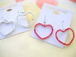 love heart earring beaded jewelry