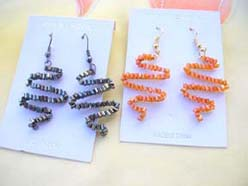 wholesale handmade jewelry beaded squiggle design earrings