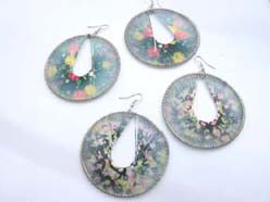 wholesale Bohemian jewelry handcrafted floral silk thread hoop thread earrings
