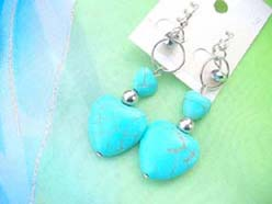 turquoise heart charm French hook earring