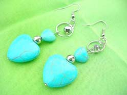 Love Heart Turquoise Hook Dangle Earrings