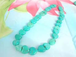 semi-precious turquoise gemstone necklace with love heart beads