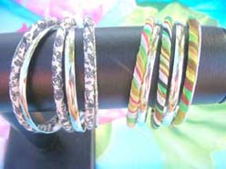 East Indian style cloth wrap bangle sets, each set include 5 to 6 bracelet bangles