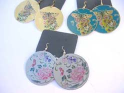 costume jewelry butterfly round dangle earrings