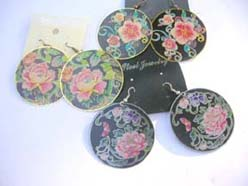 floral black tone fashion earring wholesale lot