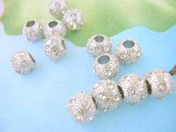 Alloy Clear Crystal Rhinestone Disco Pave Ball Bead Fits DIY Pandora Style Bracelet