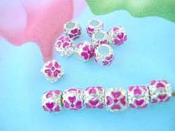 pink enamel beads charms for pandora bracelets