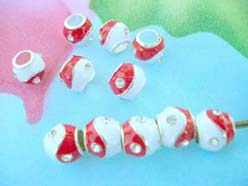 discount pandora style beads with enamel red and white and clear cz
