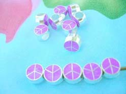 purple color enamel peace sign charms and beads fits Pandora style bracelets