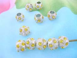 Alloy Yellow Crystal Rhinestone Disco Pave Ball Bead Fits DIY Pandora Style Bracelet