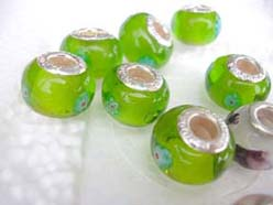 Green Murano Glass Pandora Style Beads For Charm Bracelets