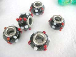 discount pandora style beads black with red and white dots