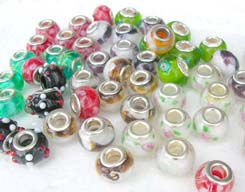 assortment designs of glass beads fits Pandora style bracelets, jewelry making supplies