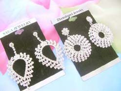 rhinestone bridal earrings with clear cz