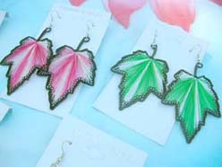 Silk Thread Chandelier Hot Fashion Earrings Maple Leaf Designs Assortment