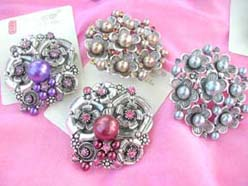 retro costume jewelry pin brooches with faux pearls and cubic zirconia