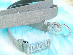 Silver fashion belt with cz heart or letter design