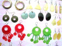 Assorted dye or natural seashell fish hook earring