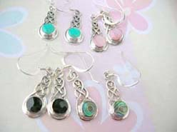 Celtic gemstone, Stamped 925 sterling silver earring