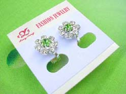 pieced studs earring with crystal cz, floral design mixed colors in center