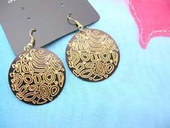 contemporary drawing painted earrings black and gold