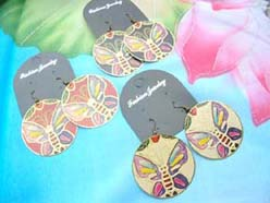large butterfly painted earrings