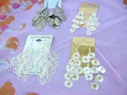 Assorted Designs of Earrings Costume Jewelry Silver Tone