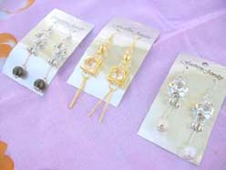 fashion dangle earrings silver and gold tone with cubic zirconia