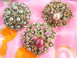 fashionable antique pin brooches with fake pearl and rhinestone cz