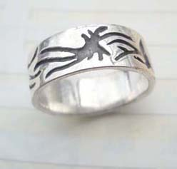 Beauty 925. stamped silver tattoo sealife ring
